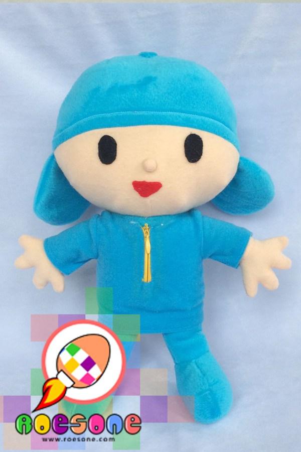 Karakter Boneka Pocoyo dari Kain Velboa Biru