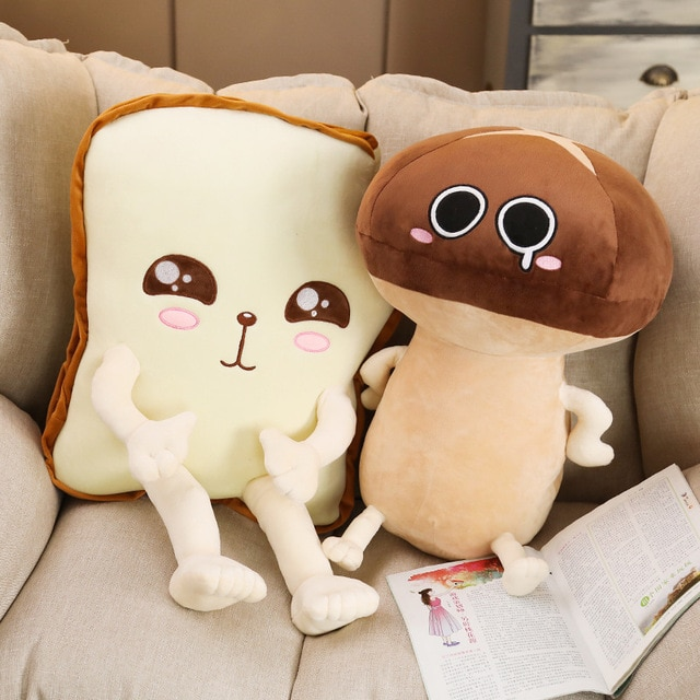 Mushroom and Toast Plush Toy Kekinian